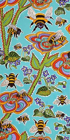 ≗ The Bee's Reverie ≗ Terrie Mangat Bee Fabric. I would love to use this fabric for curtains and pillows.