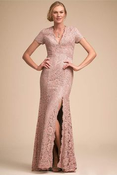 efc5b511a53 Terani Couture Ceres Dress BHLDN from Anthropologie - blush pink lace  mother of the bride dress - A deep-v and thigh-high slit are a sultry  addition to a ...
