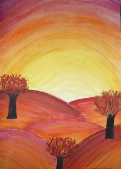 Podzimní krajina Kids Art Class, Art For Kids, Watercolours, Art Lessons, Techno, Diy And Crafts, Positivity, Fall, Drawings