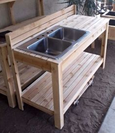 Potting Bench Plans with Sink Awesome Backyard Garden Ideas Ve Able Pots 65 Ideas for 2019 – simple country house plans Potting Bench With Sink, Outdoor Potting Bench, Potting Bench Plans, Potting Tables, Mud Kitchen, Kitchen Benches, Pallet Kitchen Cabinets, Kitchen Decor, Kitchen Ideas