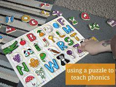 How to teach phonics with an alphabet puzzle.