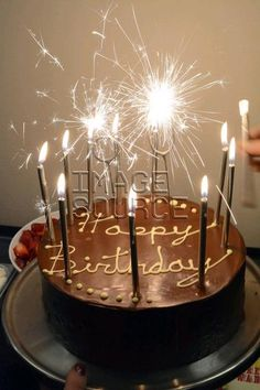 Chocolate birthday cake with sparklers and candles