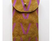 iPhone 4 and 4S pouch // toffee suede with purple V print