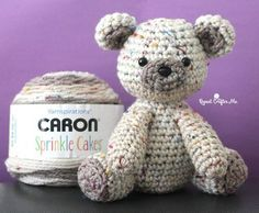 [FREE Pattern] Adorable Little Crochet Bear Made with Caron Sprinkle Cakes Yarn!
