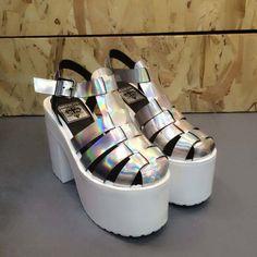 Harajuku fashion laser high-heeled sandals