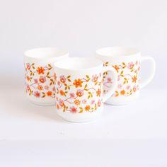 Vintage Arcopal Scania set of 3 cups, retro coffee mugs, orange flowers, milk glass mug, Arcopal france, midcentury modern by JoorVintageTreasures on Etsy