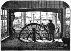 Stock Photo - The pilot-house of 'Great Republic' one of the best- known of the Mississippi paddle-steamers. Natchez Mississippi, Steam Boats, Indian Territory, Rocky Shore, Power Boats, Wood Engraving, Paddle, North America, Old Things