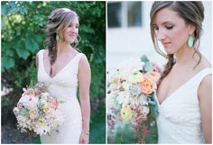 bride with a fishtail braid, gorgeous turquoise earrings and an amazing bouquet! (Love this whole wedding) | Laura Murray Photography | Bridal Musings