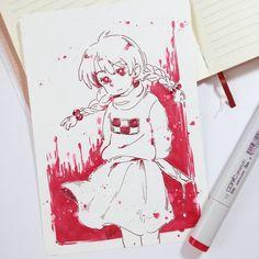 Madotsuki de Yume Nikki, pedido da Amanda Borges :)  Não conhecia esse jogo, mas tem um monte de crossover dele com Undertale no Tumblr hahaha xD  #sorteio #copic #yumenikki #madotsuki