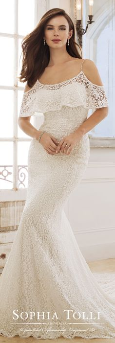 be13ba87 Cold Shoulder Ruffled Neckline Fitted Lace Wedding Dress - Y11875 Rhea