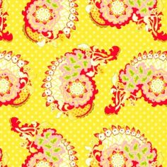 Westminster/Free Spirit Heather Bailey / Pop Garden and Bijoux / Paisley in Yellow Contemporary Fabric, Textile Patterns, Sewing Patterns, Heather Bailey, Kitchen Fabric, Yellow Fabric, Color Yellow, Crazy Colour