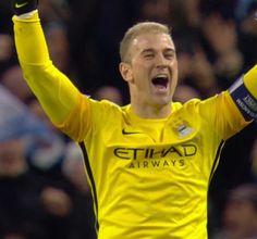 Joe Hart celebrates City's win against PSG #championsleague