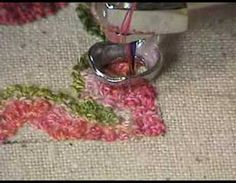 Make a miniature rug on the sewing machine with thread painting which mimics Russian needlepunch. Variegated threads give a lovely blended look similar to wo. Free Motion Embroidery, Free Machine Embroidery, Free Motion Quilting, Machine Quilting, Embroidery Applique, Embroidery Designs, Embroidery Techniques, Sewing Techniques, Sewing Crafts
