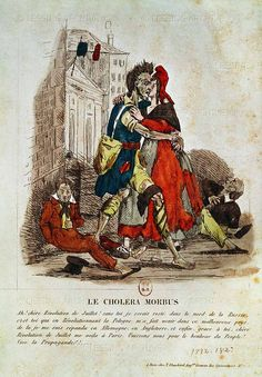 Le Cholera Morbus,a caricature describing how,   thanks to the July Revolution of 1830,the cholera   finally managed to reach Paris,coming from Russia   via Poland and Germany.   Coloured engraving,around 1830.