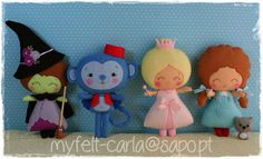 The Wizard of Oz by myfelt-carla ||| The Wicked Witch of the West, flying monkey, Glinda/The Good Witch of the North, Dorothy, Toto, L. Frank Baum, felt, fabric, doll, plush