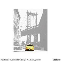 Nyc Yellow Taxi Brooklyn Bridge Pop Art Picture Canvas Print