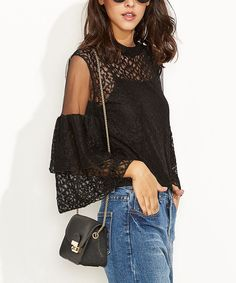 Black Lace Ruffle Bell-Sleeve Top