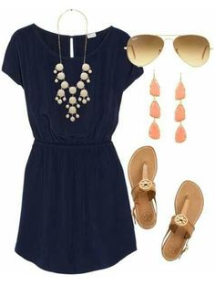 Beautiful Outfit for Spring and Summer This is really cute outfit with nice simple blue dress, adorable flats and stylish sunglasses. The jewelry looks gorgeous. Perfect for spring and summer.
