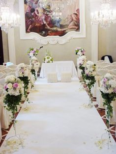 indoor wedding ceremony decor at Four Seasons Hotel in Florence