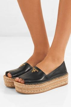 Platform sole measures approximately 40mm/ 1.5 inches Black leather Slip on Made in Italy