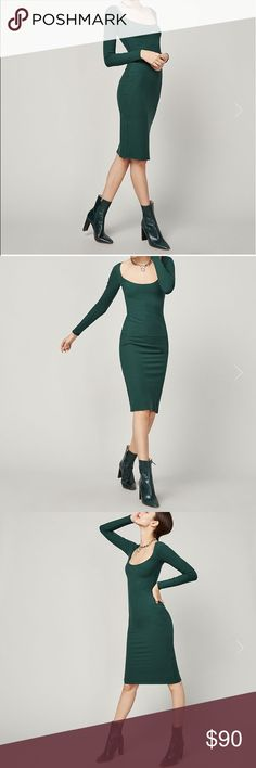 🆕 Reformation Adina Emerald dress NWT Adina bodycon dress in Emerald green by The Reformation. Brand new with all retail tags attached. Very fitted and body conscious style made from eco friendly Tencel spandex fabric. From a smoke free home. Please ask any questions! Reformation Dresses Long Sleeve