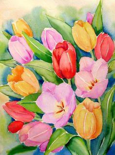 """Tulips Bouquet""  © Meltem Kilic, painting by artist Meltem Kilic"