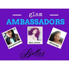 Welcome our newest Glam Ambassadors!!! Follow them for promotions and exclusive deals via Instagram. Want to represent Bella's Hair & Glam Bar and receive discounts, entry to industry events, etc? Contact us via email for details.hi@bellashairgb.com