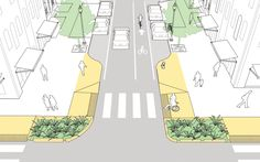 """Curb extensions forming a """"gateway"""" at the mouth of an intersection in the NATCO Urban Street Design Guide. Click on image for details, and visit the Slow Ottawa 'Streets for Everyone' Pinterest board for more of these superb illustrations."""