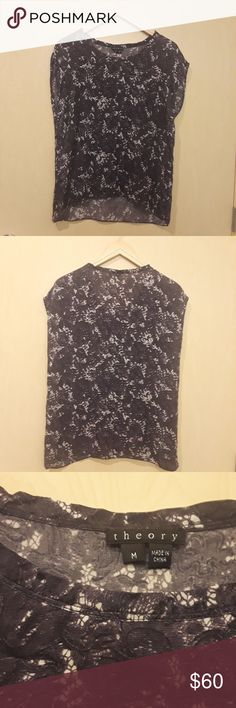 "Theory Silk Grey, White, & Black Floral Blouse Theory M Silk Grey, White, and Black Floral Sleeveless Blouse  Approximate Measurements: Pit to Pit: 19"" Length: 25"" Slightly high low.  Back measurement Condition: No rips, no stains  A00 Theory Tops Blouses"