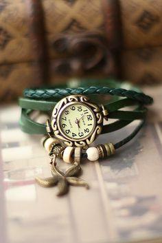 Green Bracelet Leather Watch, Vintage Women Watch, Unique Wrap Wrist Watch, $7.99