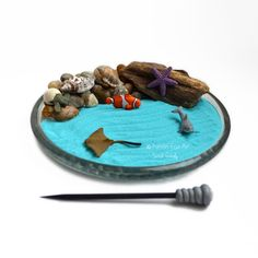 Made to Order: The pebbles, mini shells, and driftwood will vary slightly.  Handmade, miniature desktop zen garden featuring mini ocean figurines! Use