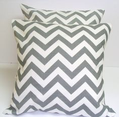 Just purchased this pair of gray chevron covers from etsy for our bedroom!
