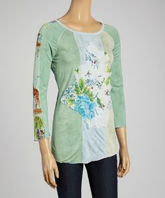 Look at this #zulilyfind! Green Floral Patchwork Three-Quarter Sleeve Top by Shana-K #zulilyfinds