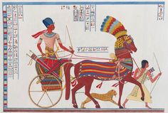 Painting on Papyrus of Ramses riding into Battle at Kadesh, Abu Simbel Great Temple - Temple of Ramses II - 19th dynasty - 1274 B.C.