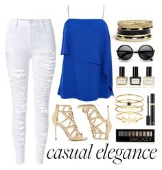 """""""Casual Elegance"""" by aurorabvik ❤ liked on Polyvore featuring Sergio Rossi, TIBI, Accessorize, Balmain, ZeroUV, GUESS, Tom Ford, Forever 21, gold and CasualChic"""