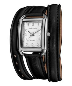 Take a look at this Silver & Black Quartz Triple-Wrap Watch by Vernier on #zulily today!