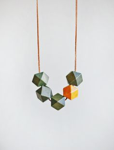 Wooden Boho Necklace / Green Necklace / Necklace in by BlueBirdLab, $17.00