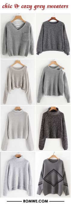 grey sweaters 2017 - romwe.com
