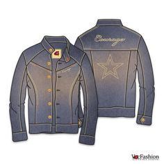 Men's Denim Jacket Slim Fit Vector Template with Courage Embroidery and Denim Texture Imposed