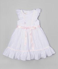 Look at this #zulilyfind! White & Pink Angel-Sleeve Dress - Infant, Toddler & Girls #zulilyfinds