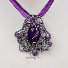 Purple grey asymmetric pendant by ukapala.deviantart.com on @deviantART
