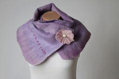 Purple Felt Scarf Handmade Felt Scarf Purple by LinaArtStudio