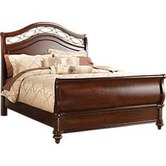 Laurel View King Dark Cherry 7Pc Sleigh Bedroom - Bedroom Sets