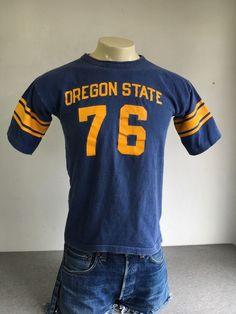 7e32522b5 CHAMPION Jersey Cotton Blue Bar 70s Shirt Oregon State 1976 University USA  Made