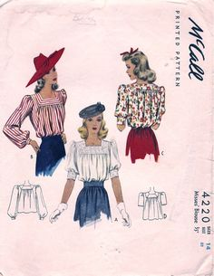 McCall Misses Blouse Fairy Tales For Kids, Old Disney, Classic Paintings, Retro Look, Blouse Patterns, Top Pattern, Vintage Sewing Patterns, Cartoon Drawings, 1940s