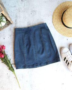 06a5baca2e Honey belle - high waisted denim skirt with back zipper - denim
