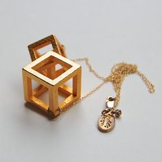 Cube Theory 3d printed jewelry // gold plated steel by LanaBetty, $112.00