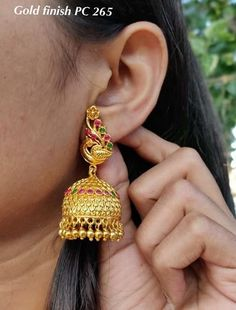 One gram gold ear rings! jumkha designs chand bali ear rings heavy gold ear rings with matt finishing work with rubies emeralds and pearls Ear Rings, Drop Earrings, Pearls, Gold, Jewelry, Fashion, Moda, Ear Jewelry, Jewels