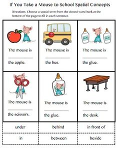 Worksheets Spatial Concepts Worksheets positional words worksheet kid crafts and education pinterest increase student awareness of spatial concepts but providing an easy to use with pictures from if you take a mouse to