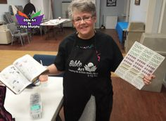 Vicky Murphy getting ready to teach Bible Art at Skyview Baptist Church in Alvin, TX